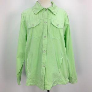 NWT Fresh Produce Green Cotton Button-up Shirt